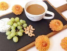 Petals and Joe. Coffee break and dinner party prep. coffee, flowers