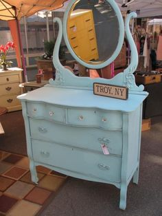 Items similar to Antique Aqua Dresser with Mirror on Etsy Aqua Dresser, Antique Dresser With Mirror, Narrow Dresser, Vintage Dressers, Antique Vanity, Refurbished Furniture, Shabby Chic Furniture, Painted Furniture, Painted Dressers