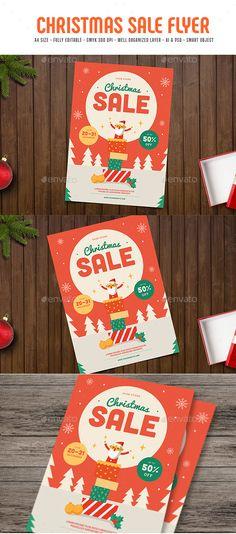 Christmas Sale Flyer Design Template - Flyers Print Templates PSD, AI Illustrator. Download here: https://graphicriver.net/item/christmas-sale-flyer/18714324?ref=yinkira