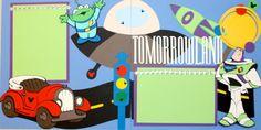Disneyland Tomorrowland Pre-made Layout by StinknCuteCrafts Disney Scrapbook Pages, Scrapbook Page Layouts, Scrapbook Albums, Scrapbooking Ideas, Disneyland Tomorrowland, Disneyland Trip, Disney Toys, Disney Crafts, Disney Letters