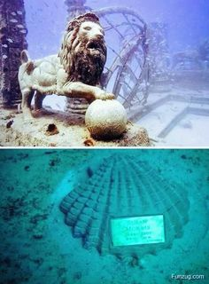 Neptune Memorial Reef & Underwater Cemetery is located 3.25 miles off the coast of Key Biscayne, Florida.  It is an underwater mausoleum for cremated remains and the world's largest man-made reef.  Cremated remains are mixed with cement to form features of the Reef, and memorial plaques are added.