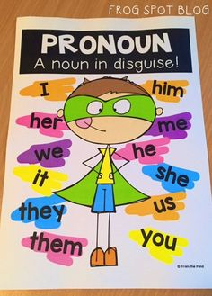 FREE Pronoun poster / anchor chart will help your students understand the concept of how a pronoun functions and shows some examples. Grammar Activities, Teaching Grammar, Teaching Language Arts, Classroom Language, Teaching Aids, Teaching Writing, Speech And Language, Teaching English, Teaching Pronouns