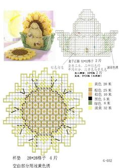 Sunflower Garden Coasters (I can't find the rest of this pattern anywhere as of 8/17/2015-Lynne Hatfield)