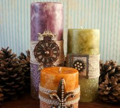 ** Alter Plain Candles With Paint, Paper, & Embellishments @mayarts