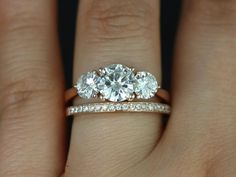 Tina & Hollie 14kt Rose Gold Round FB Moissanite and by RosadosBox, $2050.00 - *_*