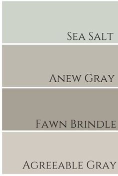 sea salt - dining room anew gray - family room (tv room) fawn brindle - downstairs bathroom agreeable gray - kitchen and living room entry way/stairway/upstairs hallway - white Hm Deco, Paint Color Schemes, Paint Colors For Home, Basement Paint Colors, Paint Colors For Bathrooms, Colors For Kitchen Walls, Entry Paint Colors, Kitchen Color Schemes, House Color Schemes Interior
