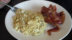 Artichoke Egg Scramble (with a side of bacon):  (1). 4 eggs. (2). 1 - 14 oz can of artichokes (used Progresso brand). (3). 1 - handful of shredded cheese, or dairy free cheese alternative (Daiya mozzarella used).