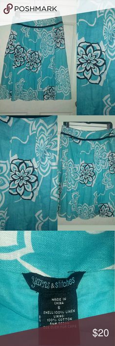 Beautiful Floral Linen Skirt Brand: Yarns & Stitches  **Please check out all of our other items for more great deals!  Condition: Excellent Condition with no flaws or stains!  Size: Women's 6  Material: 100% Linen  Color: Sky Blue with black and white floral print. please see all pictures  Measurements taken with the skirt laying flat:?  30 inch waist  26 inches down from waist to end Yarns & Stitches Skirts Midi
