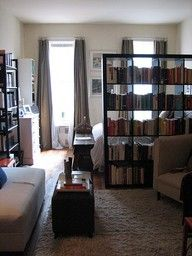 Studio apartment idea: bookcase to separate the bed room from the living room #Small #Apartment and #Ideas