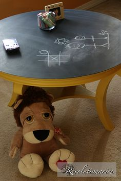 Simple idea for childs play table, chalk board paint.- I'm going to try this on the old kids playroom table.