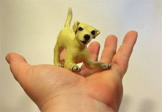 yellow lab ready to play ,porcelain dog, ceramic sculpture, miniature figure by TheArtistJess on Etsy