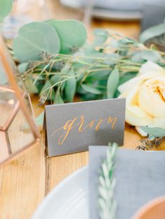 groom place card copper calligraphy on grey paper  - photo by Love by Serena - styling by East Made Event Company - calligraphy by Charlie Whiskey Design http://ruffledblog.com/copper-and-slate-autumn-inspiration-shoot