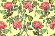 Watercolor rose seamless pattern by Art By Silmairel on @creativemarket