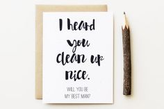 Funny Will you Be my Best Man Card I heard you by PattersonPaper