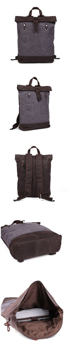 Waxed Canvas Travel Backpack School Backpack Hiking Rucksack Laptop Backpack Hiking Backpack, Laptop Backpack, Travel Backpack, Waxed Canvas, Canvas Leather, Cow Leather, Best Boyfriend Gifts, Messenger Bag Men, Everyday Bag