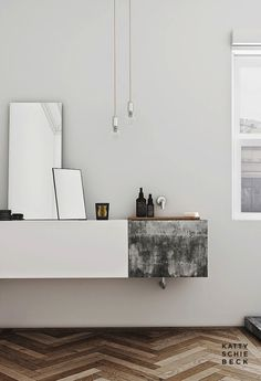 Etc Inspiration Blog Modern Barcelona Apartment By Katty Schiebeck Bathroom Vanity Herringbone Parquet Wood Floors photo Etc-Inspiration-Blo...