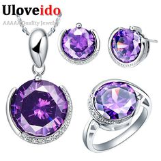 Find More Jewelry Sets Information about Bridal Jewelry Sets with Amethyst Ring Pendant Earring 925 Sterling Silver Fashion Crystal Wedding Accessories 2015 Ulove T063,High Quality set screen,China set shower Suppliers, Cheap set torx from Ulovestore Jewelry on Aliexpress.com