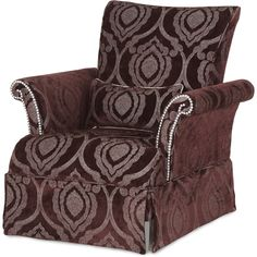 Hollywood Swank High Back Skirted Chair in Brown | AICO | Home Gallery Stores