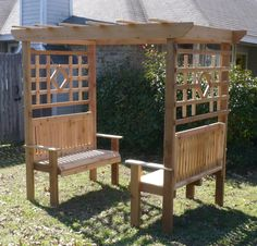 New all cedar wood double garden arbor bench arch 2 benches nearly 8 feet wide is part of Country garden Bench - Arbor Bench, Wood Arbor, Bench Seat, Metal Arbor, Cedar Garden, Garden Arbor, Easy Garden, Large Backyard Landscaping, Backyard Patio