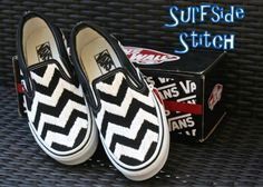 Custom Embroidered Chevron Vans via Etsy.