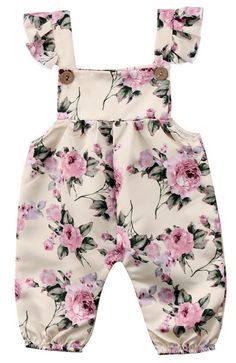 Your baby girl deserves to look outstanding and get tons of compliments. Check out this floral jumpsuit features buttons and flutter straps. - Baby Girl Dress - Ideas of Baby Girl Dress Baby Girl Dress Patterns, Baby Clothes Patterns, Cute Baby Clothes, Little Girl Dresses, Dresses For Babies, Cute Baby Dresses, Baby Girl Fashion, Kids Fashion, Toddler Fashion