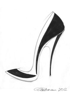 Stiletto shoe sketch - fashion illustration, footwear drawing // Georgina Goodman