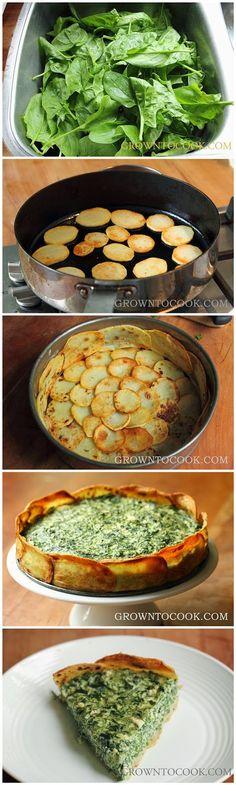 Top Food Center: Espinafre e mola erva torta los crosta de batata