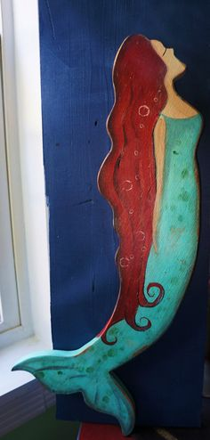 Distressed Wooden Mermaid...Cottage Nautical Decor....FREE SHIPPING within the U.S.