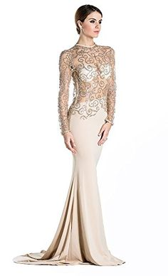 Missord Womens O Neck Long Sleeve Bodycon Maxi Dress for Prom XSmall Khaki >>> Click image for more details. (Note:Amazon affiliate link) #WeddingDresses