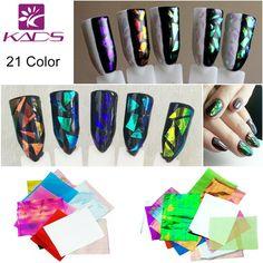 KADS 21pcs/pack Holographic DIY Nail Art Broken Glass Foil Finger Stencil Decal Sticker 21 Colors Nail Art Mirror Manicure Tool