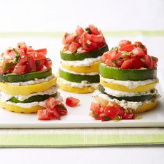 Weight Watchers Grilled Summer Squash Stacks with Herbed Ricotta - Creamy herbed-ricotta is layered between slices of grilled veggies in this summery side. A fresh tomato salsa makes a terrific topping.
