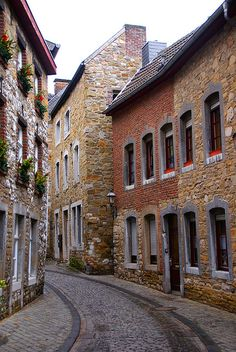 Small streets of a historical town in Stolberg, Germany