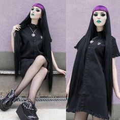 Disturbia Tomb dress and Demonia bat shoes. get the full look at our webshop… Dark Fashion, Grunge Fashion, Full Look, Grunge Girl, Alternative Fashion, Style Inspiration, Instagram Posts, Gothic, Beauty
