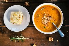 Butter nut squash soup and cheese biskets