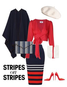 """Stripes on Stripes"" by jenmartin1987 on Polyvore featuring The Row, LPA, Christian Louboutin, RED Valentino, Rebecca Minkoff, stripesonstripes and PatternChallenge"