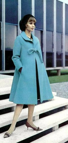 Nina Ricci coat, Photo: Pottier 1963 blue print ad jacket model 60s cutie stuf