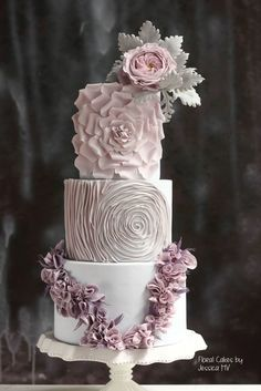 Jessica MV is world-famous for her unique wedding cake designs. She has spreaded the ideas of haute couture wedding cakes with textures and delicate hand-made details all over the globe through her hands-on classes and online tutorials. Wedding Cake Fresh Flowers, Cool Wedding Cakes, Elegant Wedding Cakes, Elegant Cakes, Beautiful Wedding Cakes, Gorgeous Cakes, Wedding Cake Designs, Pretty Cakes, Wedding Cake Toppers