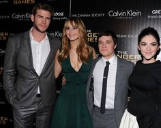 Liam Hemsworth, Jennifer Lawrence, Josh Hutcherson, and Isabelle Fuhrman at the New York premiere of The Hunger Games today.