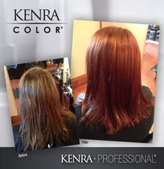 Work by Rebecca Chaney. Before and after using Kenra Color 7CG and 6C equal parts Demi.