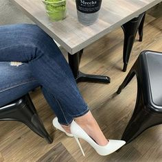 Boots are truly trendy and there is broad option from flat-heels to stilettos, wedges, and platforms, boots are whatever in between. Stiletto Shoes, Pumps Heels, Jeans Heels, Beautiful High Heels, Sexy High Heels, Designer High Heels, White Pumps, Leather Heels, Shoe Boots