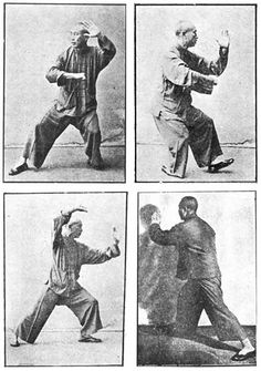 Tai Chi Reference Pix: (clockwise starting upper left) Back Fist Punch, Fist Under Elbow, Brush Knee - right, & Fan Through the Back