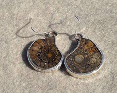 Fossil Earrings Sterling Silver Ammonite Earrings by IvanArtisan