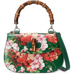 Gucci Bamboo Classic Blooms Small Top-Handle Bag (£1,705) ❤ liked on Polyvore featuring bags, handbags, borse, green blooms, flower print purse, white purse, green handbag, gucci purses and bamboo purse