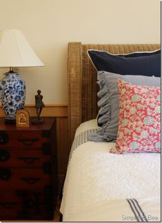 ralph lauren style bedroom - like these linens for the cottage/cabin bedroom.