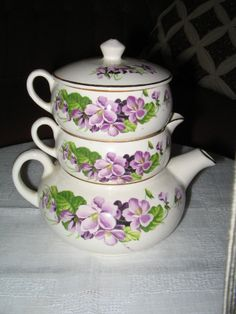 Vintage English China Stackable Teapot for by pandorasboxantiques
