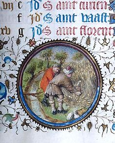 Month, Occupation: July -- Two men, one holding sickle, harvest grain. Scene in landscape setting within decorated medallion in lower margin (bas-de-page). Morgan LibraryMS M.358 Book of hours (Ms. Pierpont Morgan Library. M.358) Title: Book of hours. Published/Created: Provence, France, ca. 1440-1450.