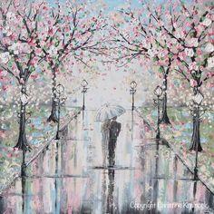 GICLEE PRINT Art Abstract Painting Couple with Umbrella Walk Rain Pink Cherry Trees Textured White Grey Modern Wall Art Decor - Christine Krainock Art - Contemporary Art by Christine - 6