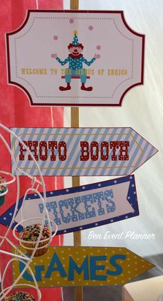 Welcome signs at a circus birthday party! See more party planning ideas at CatchMyParty.com!