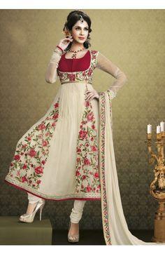 Vivacious Cream & Red Salwar Kameez - Ravishing Designer Anarkali Collection - Anarkali