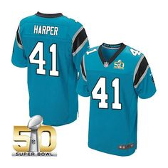Carolina Panthers #41 Roman Harper Blue 2016 Super Bowl 50 Elite Jersey